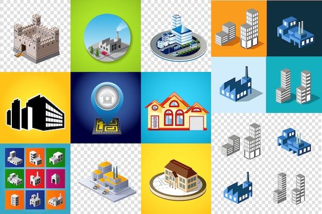 Set ontwerpsjablonen, ontwerpelementen, isometrische objecten gebouwen