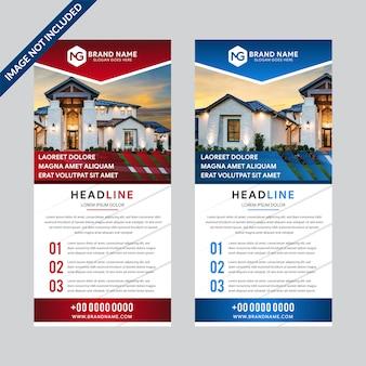 Set ontwerpsjablonen van witte achtergrond roll-up banners met een plek voor foto's