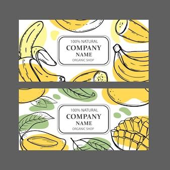 Set ontwerpsjablonen voor biologische winkels met fruitschetsen
