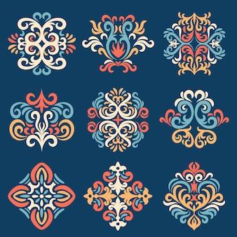 Set oosterse damastpatronen, damastembleemset, oude damascus-stijl