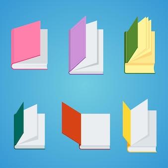 Set open boeken voor lezen en studeren aan de schooluniversiteit