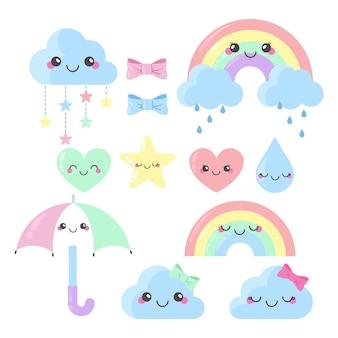 Set organische platte chuva de amor decoratie-elementen