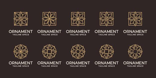 Set ornament logo ontwerp. geometrische logolijn zwart en goud