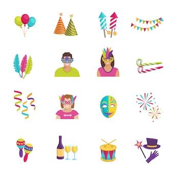 Set ot kleur plat pictogrammen beeltenis carnaval elementen ballon masker vuurwerk vectorillustratie