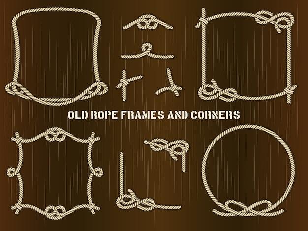 Set oude touwframes en hoeken in verschillende unieke stijlen.