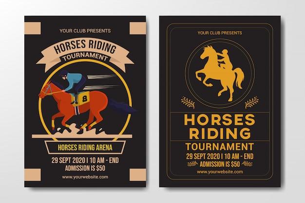 Set paarden rijden competitie flyer-sjabloon