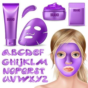 Set paars masker, scrub en kalligrafie lettertype.