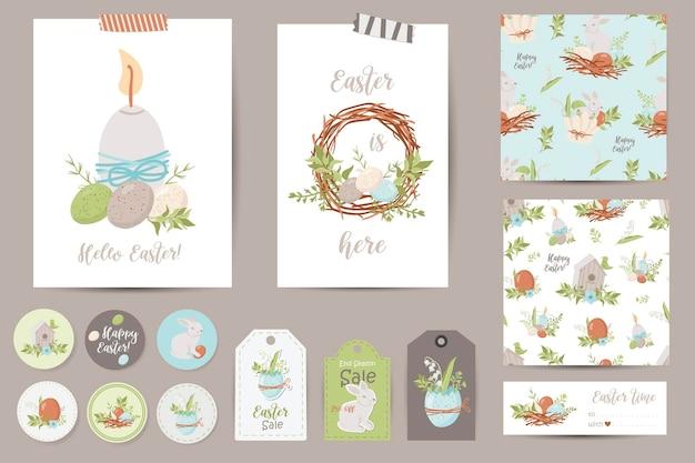Set paaskaarten, notities, stickers, etiketten, stempels, tags. afdrukbare kaartsjablonen