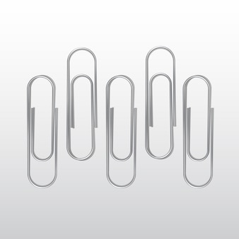 Set paperclips op witte achtergrond