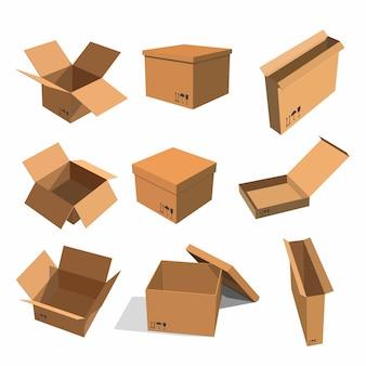 Set papieren gele dozen voor het verpakken van goederen