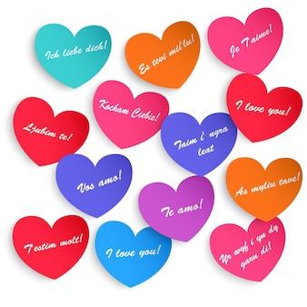 Set papieren harten met het opschrift ik hou van je in verschillende talen