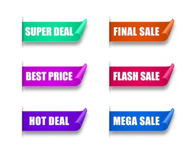 Set papieren verkoopstickers beste keuze bestel nu speciale aanbieding nieuwe en grote verkoopbanners