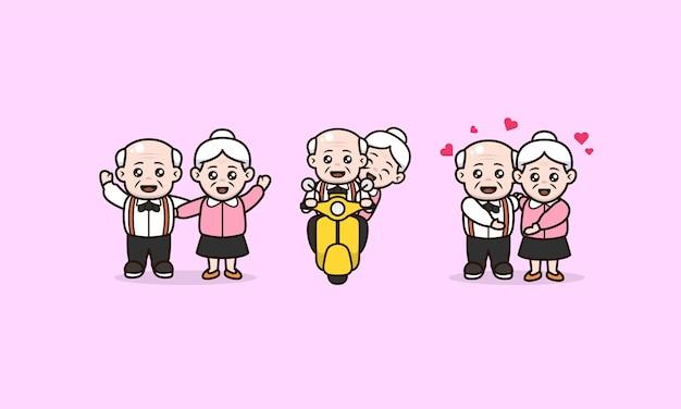 Set paren grootouder internationale dag van oude personen characterdesign