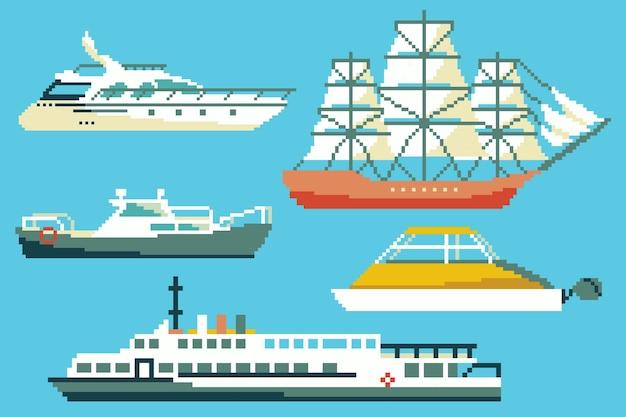 Set passagiersboten en schepen in 8 bit kunststijl.
