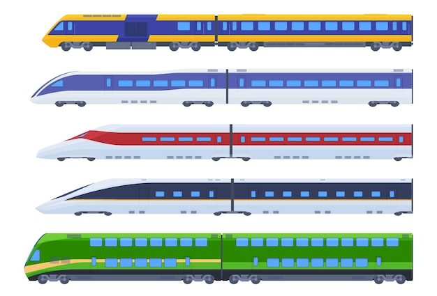 Set passagierstreinen. snel vervoer van passagiers, communicatie over lange afstand.