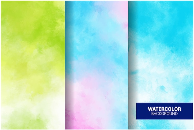 Set pastel aquarel achtergrond. grunge textuur. digitale kunst schilderij