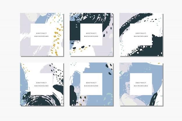 Set pastel vierkante handgetekende abstracte achtergronden met artistieke penseelstreken en verfvlekken.
