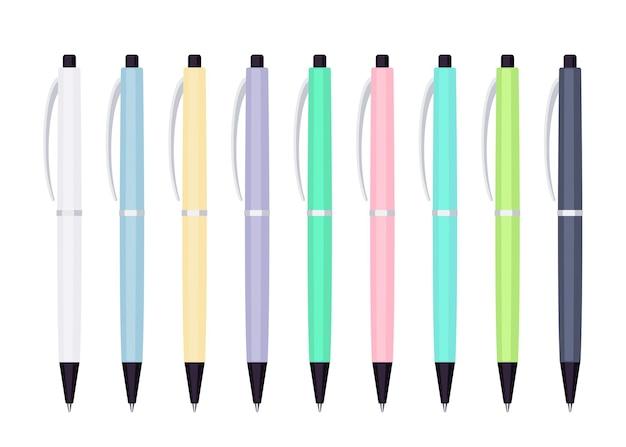 Set pastelkleurige automatische veerbalpennen in kunststof koffer. collectie van school- of kantoorhulpmiddelen. platte vectorillustratie geïsoleerd op een witte achtergrond