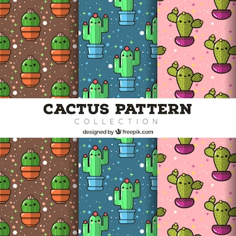 Set patronen met mooie captus in plat ontwerp
