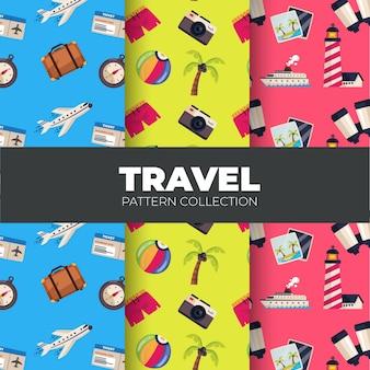 Set patronen met zomer reiselementen