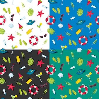 Set patronen van zomerelementen op verschillende achtergrond, een naadloos patroon van zomerthema, een heldere achtergrond van felle kleuren naadloos patroon over de zomer. zomerelement op naadloos patroon