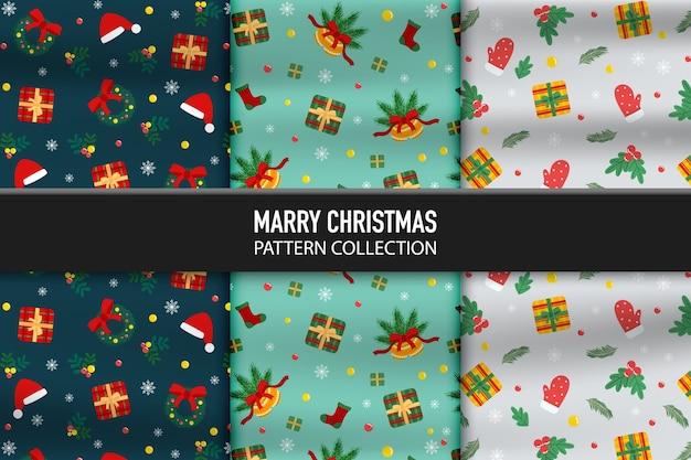 Set patroon met huidige doos en decoraties iconen van happy new year en eerste kerstdag