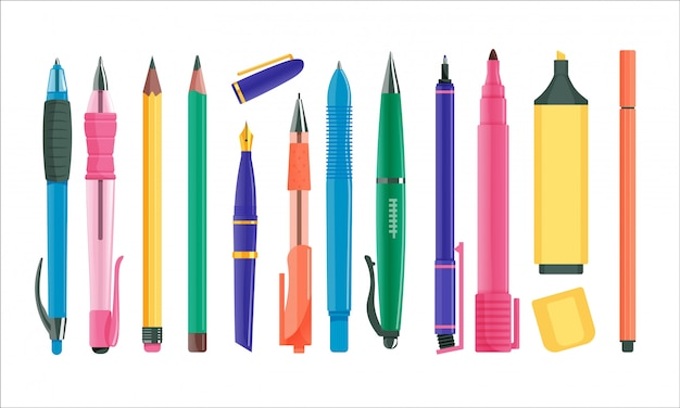 Set pennen en potloden. geïsoleerde balpen en vulpen, stift, tekenpotloodcollectie. bedrijfsbureau of school onderwijs briefpapier vectorillustratie