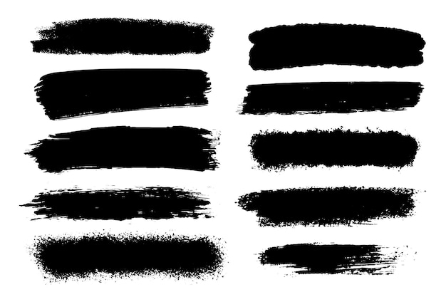 Set penseelstreken geïsoleerd op wit