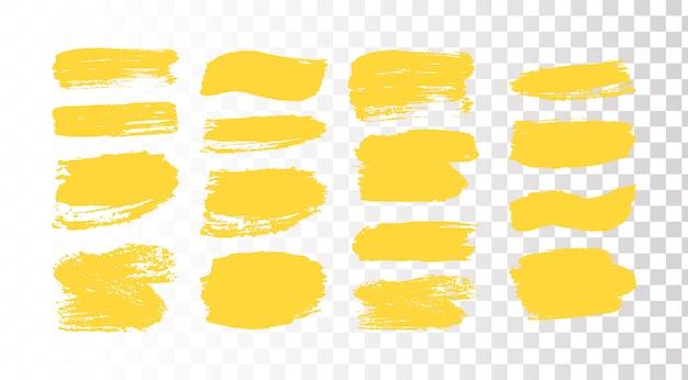 Set penseelstreken. grunge ontwerpelementen. gouden verf, inkt, borstels, grungy lijnen. vuile artistieke dozen, frames. gouden lijnen geïsoleerd. abstracte gouden glinsterende getextureerde kunst illustratie.