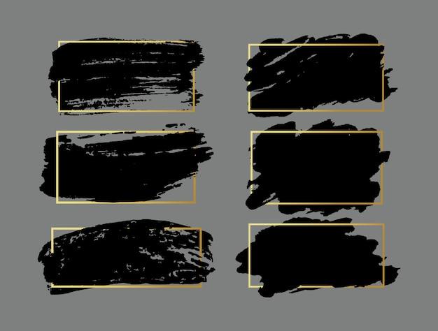 Set penseelstreken. grunge ontwerpelementen. gouden verf, inkt, penselen, lijnen, grungy. vuile artistieke dozen, lijsten. gouden lijnen geïsoleerd. abstracte goud glinsterende getextureerde kunst illustratie. Premium Vector
