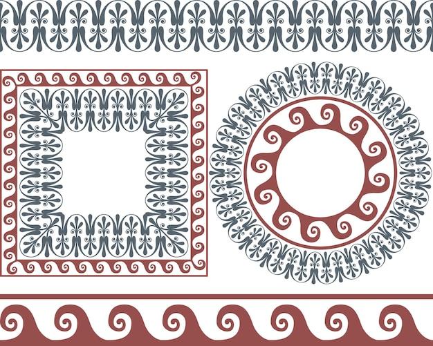 Set penselen om de griekse meander-patronen te maken, en ronde en vierkante kaders.