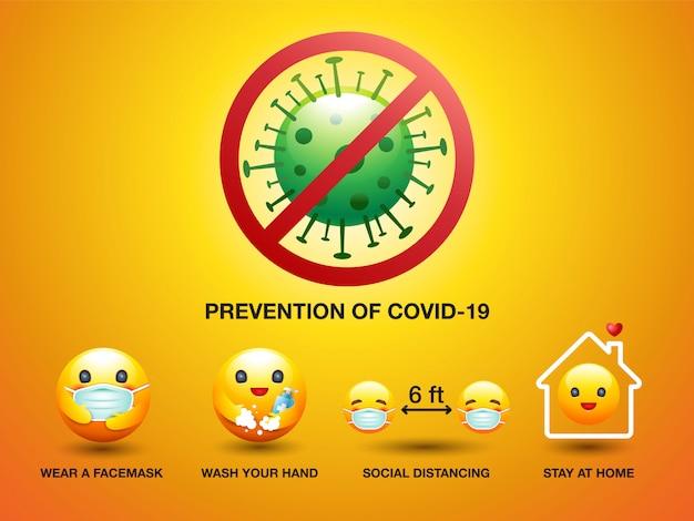 Set pictogram smile face, preventie van covid-19, teken en symbool