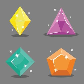 Set pictogrammen edelstenen