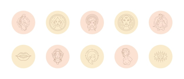 Set pictogrammen en emblemen voor verhalen op sociale media markeren covers in lineaire stijl