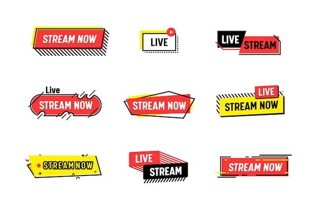 Set pictogrammen stream nu, live streaming. uitzendconcept voor videonieuws, tv-schermemblemen. online kanaal, live-evenementstickers, geïsoleerd op witte achtergrond lineaire vectorlabels of banners
