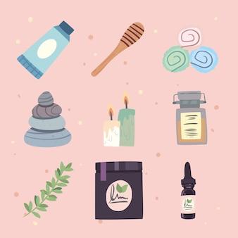 Set pictogrammen voor huidverzorging en spa
