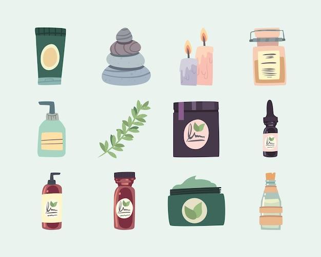 Set pictogrammen voor spa en natuurlijke producten