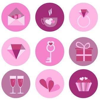 Set pictogrammen voor valentijnsdag, moederdag, bruiloft, liefde en romantische evenementen