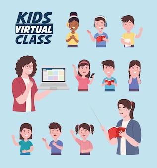 Set pictogrammen voor virtuele les