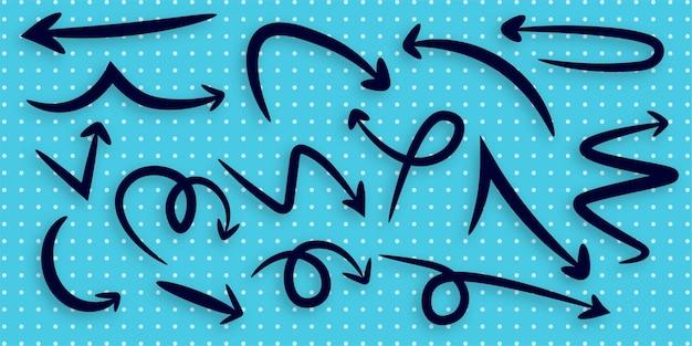 Set pijl hand getekende illustratie sjabloonontwerp