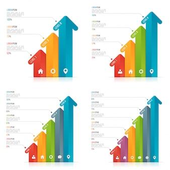 Set pijl infographic sjablonen voor datavisualisatie.