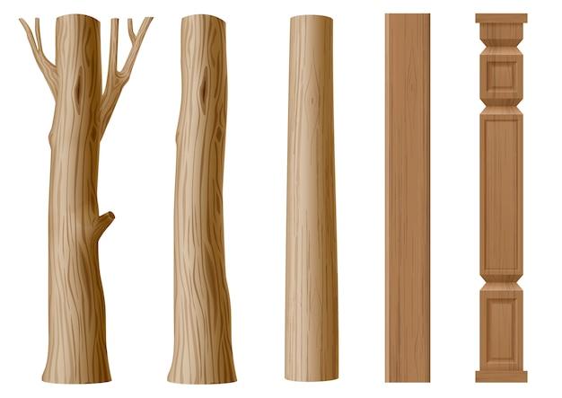 Set pijlers van hout