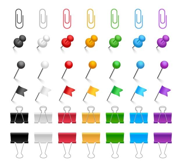 Set pinnen en paperclips. gekleurde bindclips, push pins, vlaggen en kopspijkers. realistisch briefpapier. kantoor artikelen. illustratie.