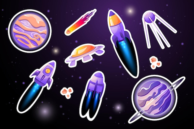 Set planeet- en raketstickers.