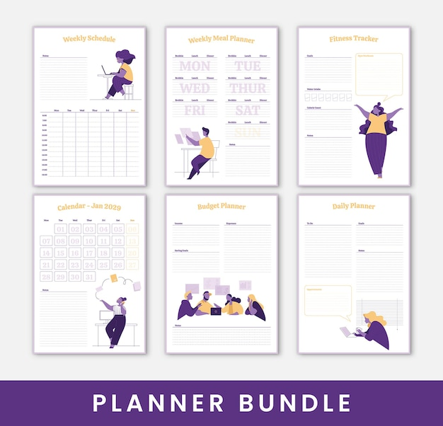 Set planners met leuke illustraties