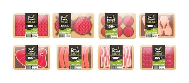 Set plantaardige vegetarische dan vlees in verpakking biologische natuurlijke vegan food concept horizontale kopie ruimte