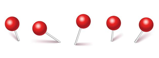 Set plastic pushpins; pinnen met schaduw geïsoleerd op een witte achtergrond.