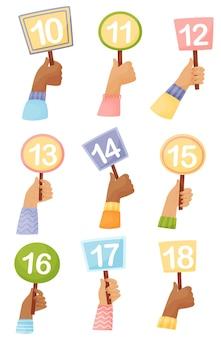 Set platen van verschillende vormen met getallen in de hand