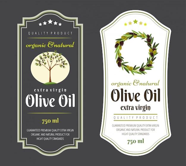 Set platte etiketten en insignes van olijfolie. illustraties voor olijfolieetiketten, verpakkingsontwerp, natuurlijke producten, restaurant. olijfolie-etiketten. handgetekende sjablonen voor olijfolie verpakking