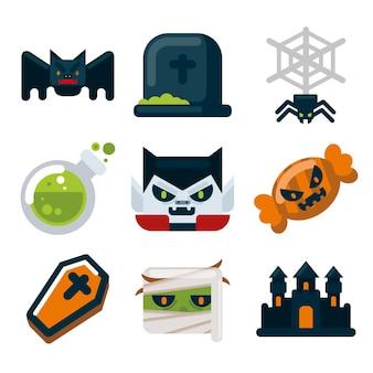 Set platte ontwerp halloween elementen
